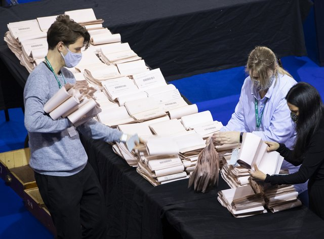 Election counters in Glasgow