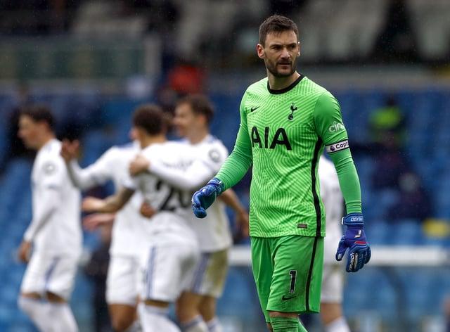 Tottenham Hotspur goalkeeper Hugo Lloris stands dejected at Elland Road