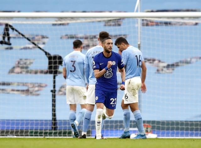 Chelsea's Hakim Ziyech celebrates scoring against Manchester City