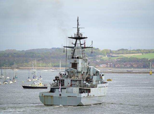 Royal Navy patrol ship HMS Severn returns to Portsmouth Naval Base from Jersey
