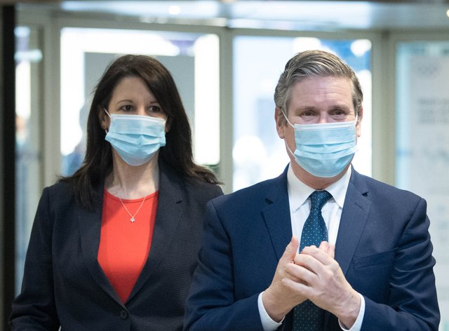 Sir Keir Starmer with Rachel Reeves who has been promoted to shadow chancellor
