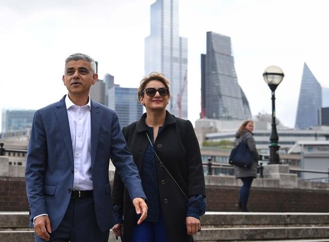Sadiq Khan with his wife Saadiya