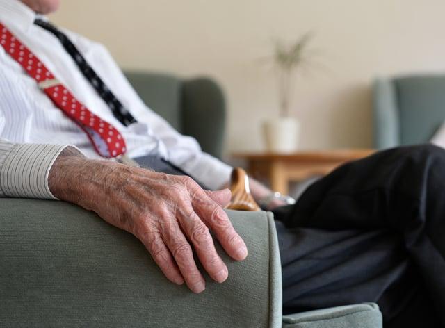 An elderly man at Rowheath House retirement home in Birmingham