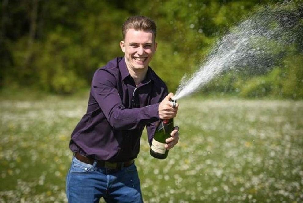 Dudley man Luke Ashman celebrates his lottery win (National Lottery/PA)