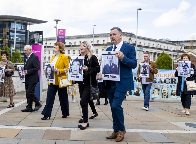 Families of Ballymurphy victims arrive at the International Convention Centre in Belfast