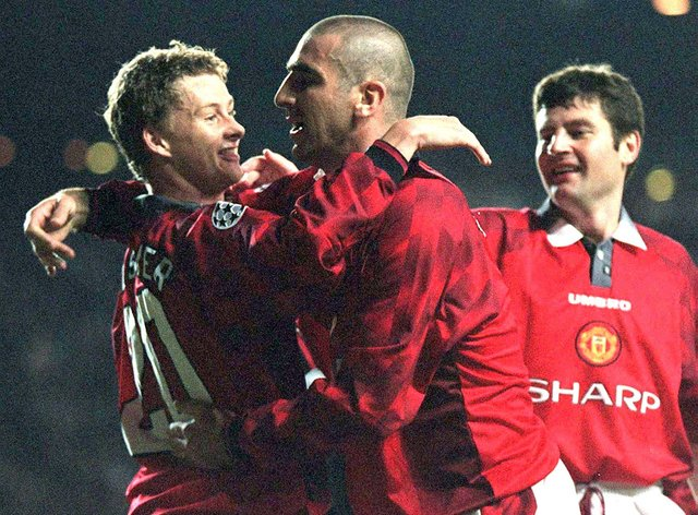 Former Manchester United captain Eric Cantona has backed current manager Ole Solskjaer (left) to lead the club to the Premier League title