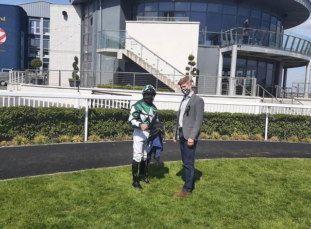 Jack Davison and jockey Wayne Lordan following Mooneista's Woodlands win