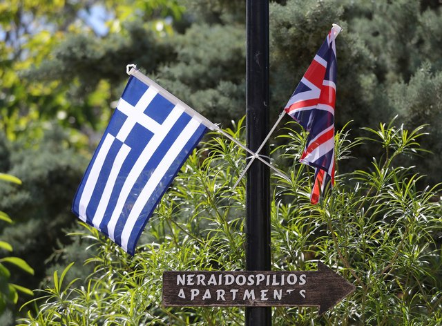 Greek and UK flags