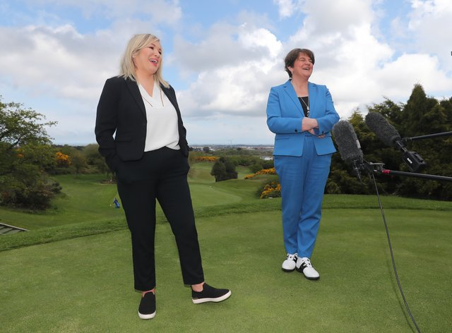 Arlene Foster and Michelle O'Neill on the golf course