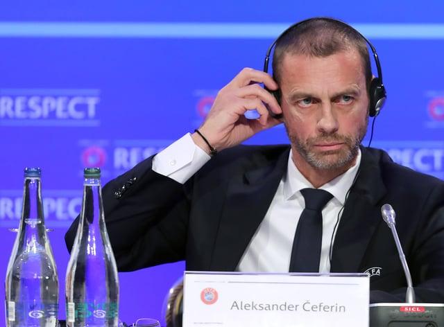 UEFA president Aleksander Ceferin speaks to the media