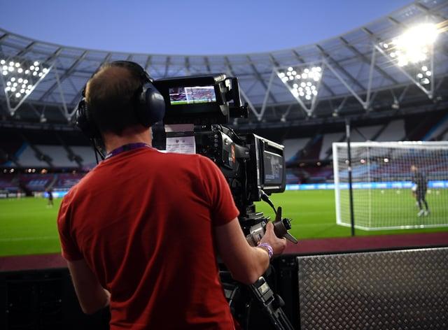 A television camera at a Premier League match