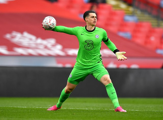 Kepa Arrizabalaga, pictured, will start the FA Cup final for Chelsea on Saturday