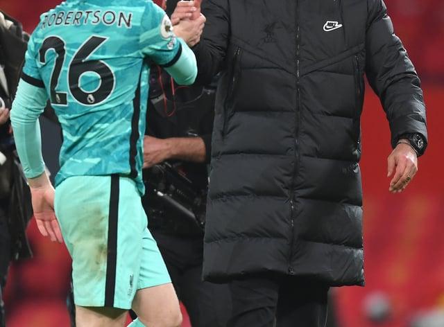 Liverpool manager Jurgen Klopp with Andrew Robertson