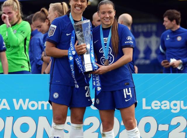 Chelsea's Sam Kerr (left) and Fran Kirby celebrate