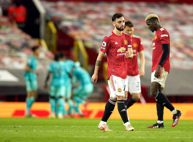 Bruno Fernandes cut a frustrated figure after Manchester United lost to Liverpool