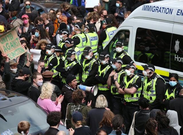 Glasgow protest scene