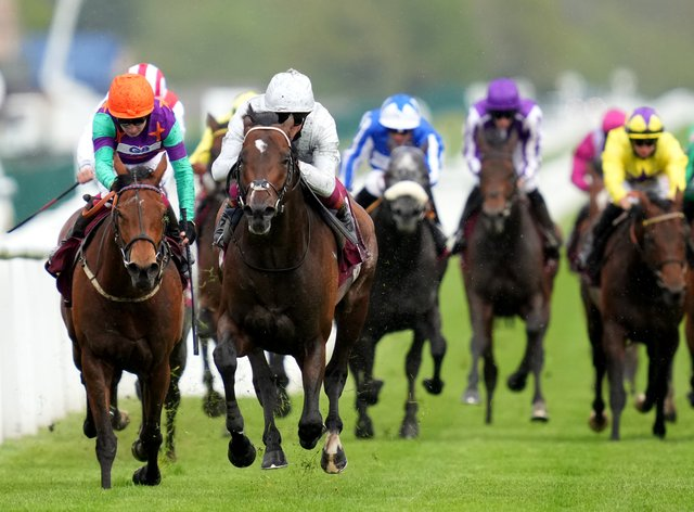 Lady Bowthorpe (left) chases home Palace Pier in the Lockinge Stakes at Newbury