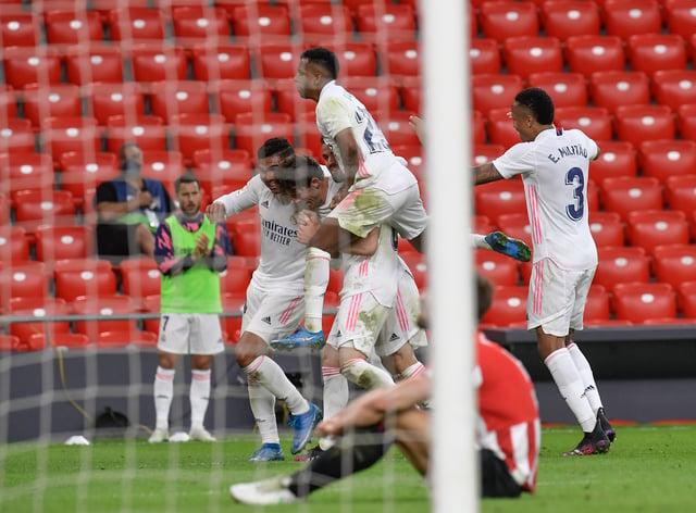 Real Madrid's Nacho, celebrates following his second-half strike