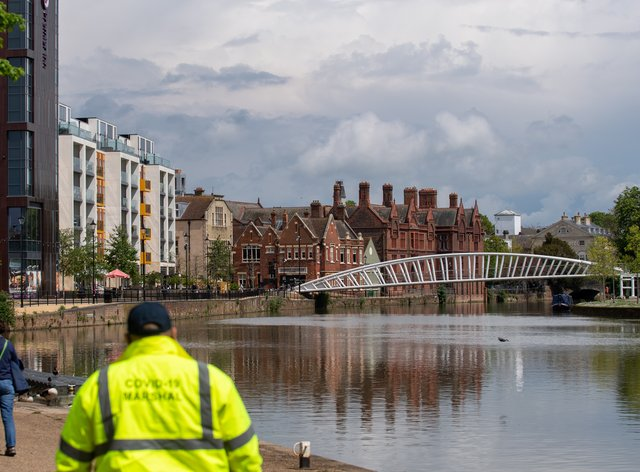 A Covid marshal on patrol in Bedford