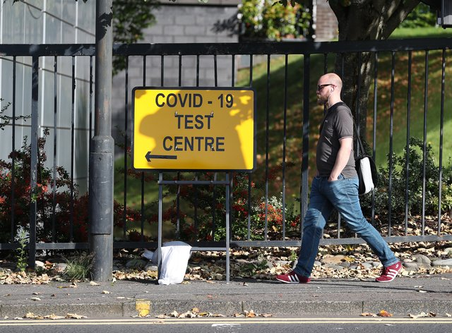 Coronavirus test centre sign