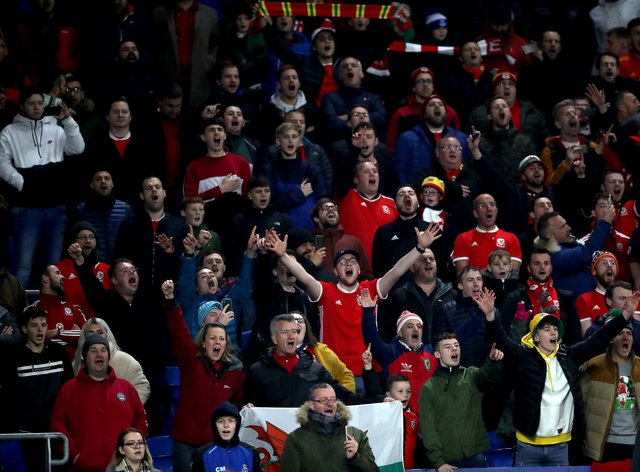 Wales fans in the stands