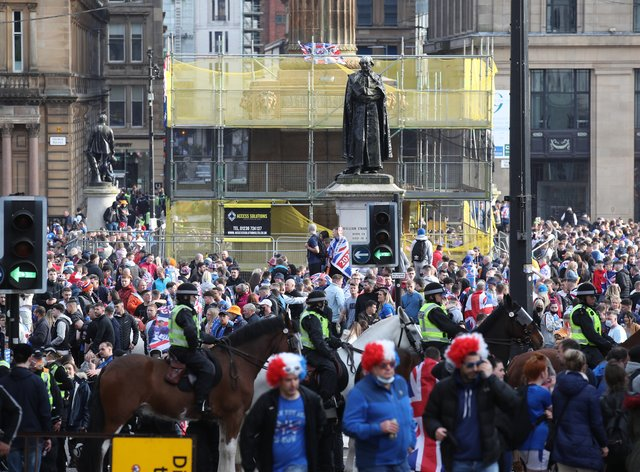 Rangers fans in George Square, Glasgow
