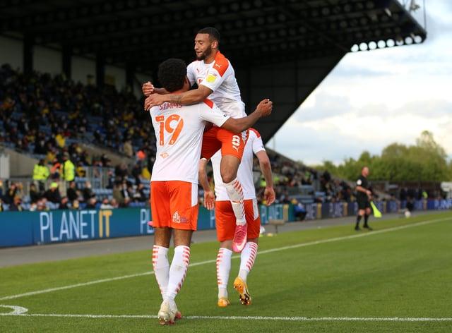 Ellis Simms celebrates scoring Blackpool's third