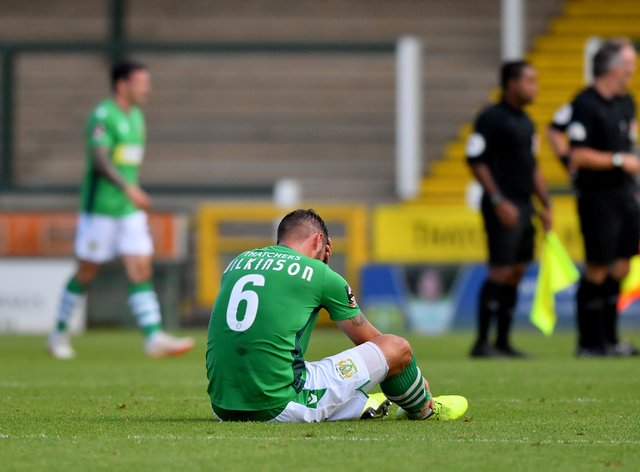 Yeovil's Luke Wilkinson was sent off after having a goal disallowed