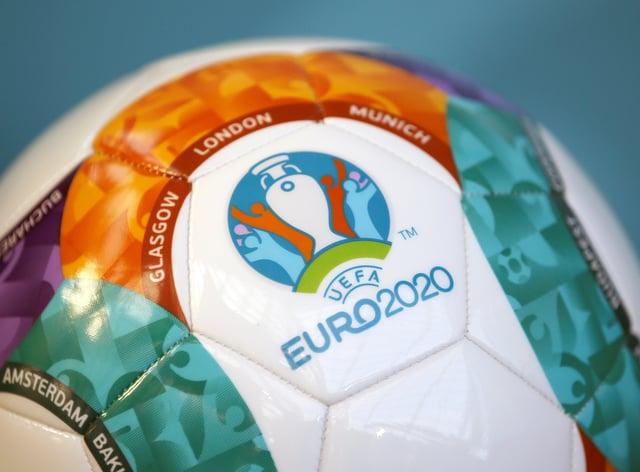 A Uefa Euro 2020 Logo on a Football (Jane Barlow/PA)