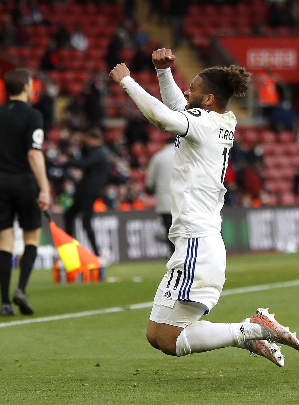 Leeds striker Tyler Roberts celebrates his goal