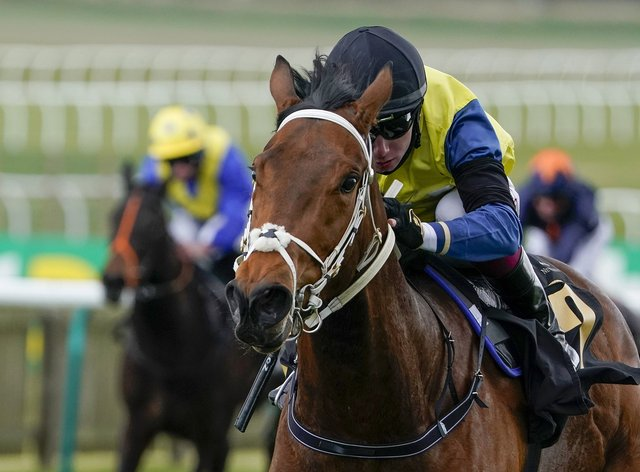 Bellosa, ridden by Oisin Murphy, winning the Rossdales Maiden Fillies' Stakes at Newmarket Racecourse