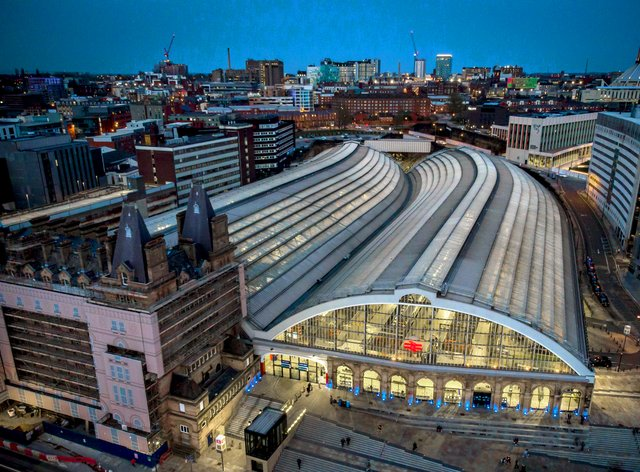 An aerial image of Liverpool Lime Street Station (Peter Byrne/PA)