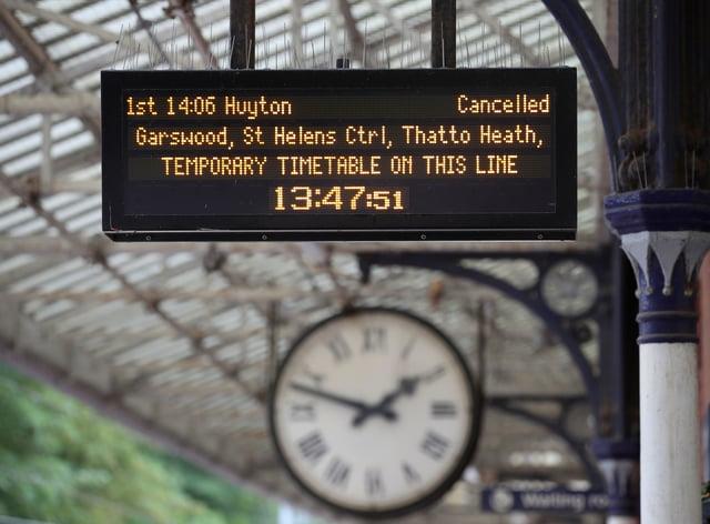 A train departures board