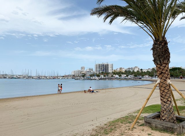 An empty beach on the Spanish island of Ibiza
