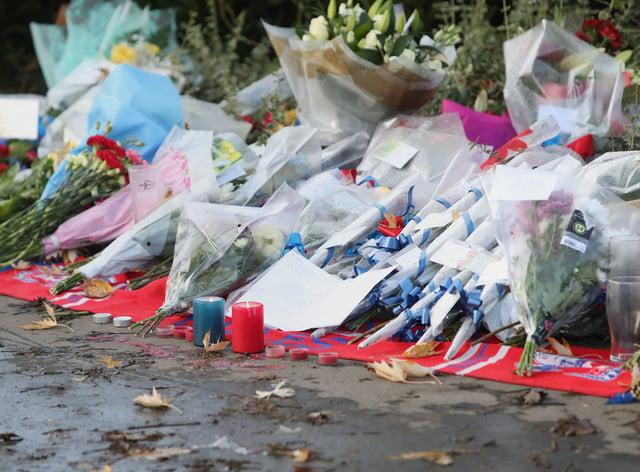 Flowers left at the scene near the Croydon tram crash