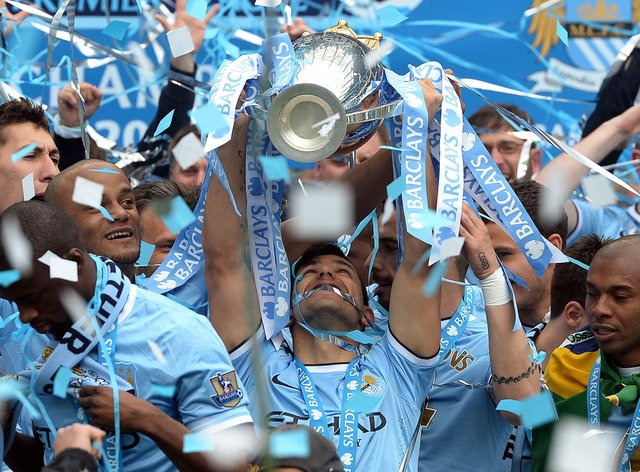 Manchester City will be presented with the Premier League trophy on Sunday