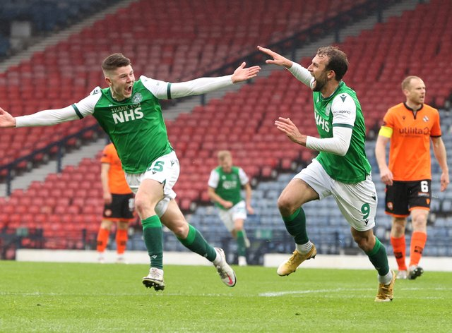 Hibernian's Christian Doidge (right) and Kevin Nisbet have both been on target along their run to Hampden