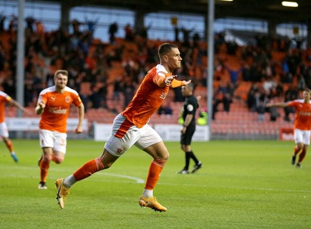 Blackpool's Jerry Yates celebrates