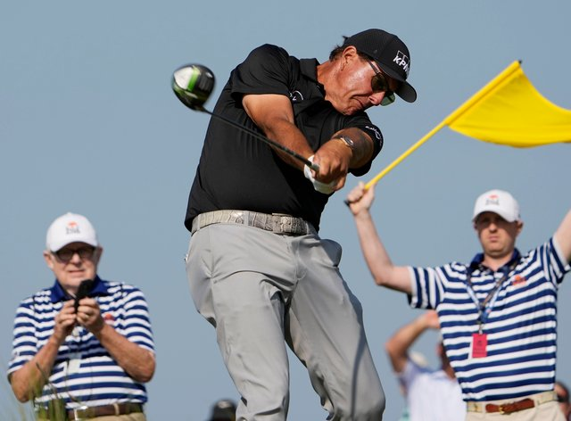 Phil Mickelson held the clubhouse lead in the US PGA Championship