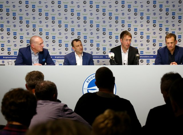 Graham Potter, centre right, is confident he has the backing of Tony Bloom, centre left
