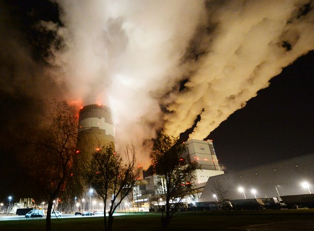 Clouds of smoke over Europe's largest lignite power plant in Betchatow, central Poland