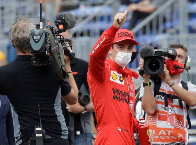 Charles Leclerc claimed pole despite a heavy crash at the end of qualifying