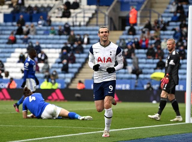 Gareth Bale celebrates scoring at Leicester