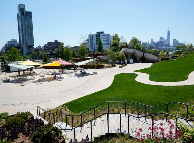 Little Island, a new public park featuring winding paths, staircases and views of New York City and the Hudson River