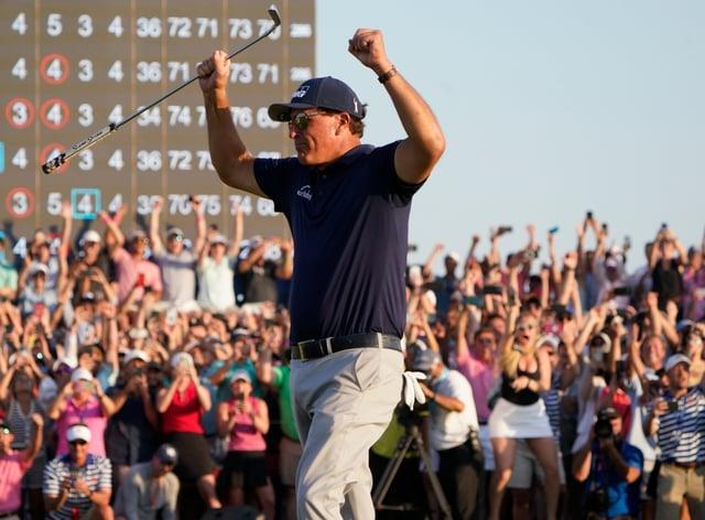 Phil Mickelson celebrates his triumph