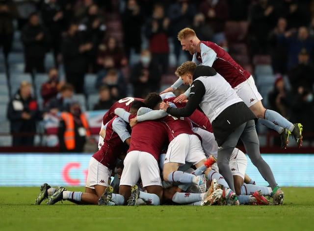 Aston Villa celebrate winning the FA Youth Cup