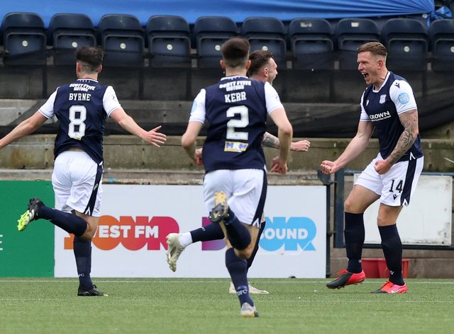 Lee Ashcroft, right, scored as Dundee beat his former club Kilmarnock to win promotion