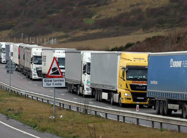 Lorries queuing for the port of Dover