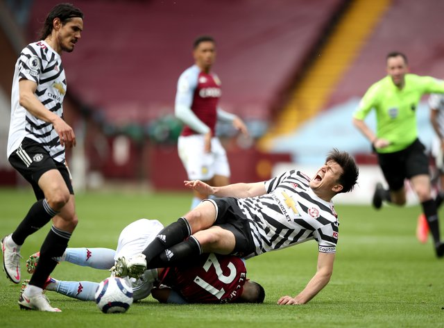 Manchester United's Harry Maguire suffered ankle ligament damage against Aston Villa