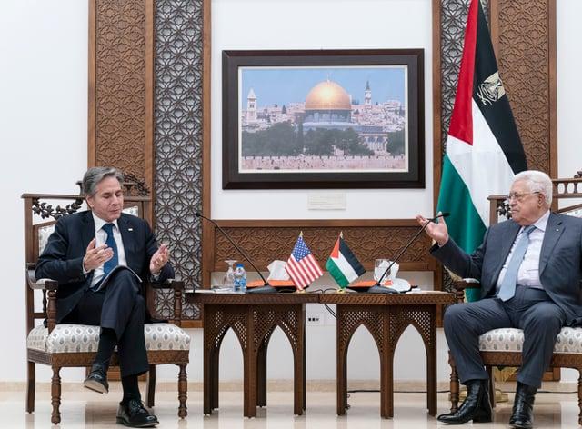 US secretary of state Antony Blinken with Palestinian president Mahmoud Abbas